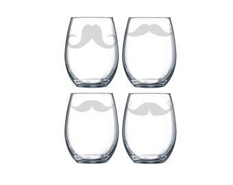 Hand Etched Assorted Old Fashioned Mustache Facial Hair Silly Funny Stemless Wine Glasses Set of 4