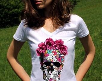 Skull T-Shirt Skull TShirt Sugar Skull Shirts Sugar Skull T Shirt Skull Tops Skull Clothing Women Lady V Neck Hipster Tees Shirt