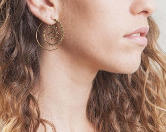 Brass spiral earrings, tribal earrings, indian earrings, boho earrings