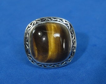 Vintage Sterling Silver Tiger's Eye Ring Size 7.5