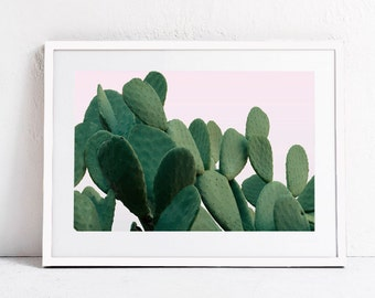 Cactus Print Plant Print, Pink Green Modern Digital Print Large Printable Art Print DIGITAL DOWNLOAD Art, Photography Print Horizontal 24x36