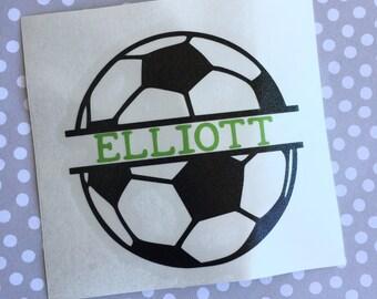 Name Soccer Decal, Name Soccer Sticker, Monogram Soccer Decal, Soccer Sticker, Soccer Car Decal, Personalized Soccer Decal
