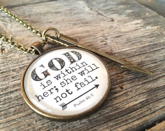 God is Within Her; She Will Not Fail (Arrow) - Psalm 46:5 - Christian Pendant Necklace