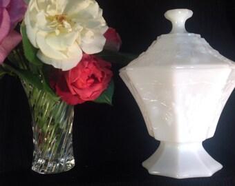 Milk Glass, Wedding Decor, Vintage, 1960s, Vintage Wedding, Vase, Candy Dish, Pedestal Bowl w/ Lid, Paneled Grapes & Leaves Pattern, Compote