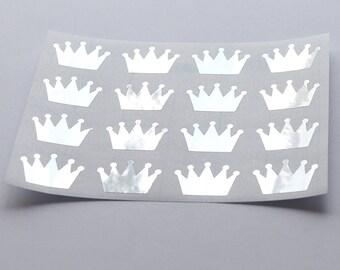 16 Metallic Silver Crown Stickers, Silver Crown Labels, Planner Stickers, Envelope Seal, Wedding Stickers, Birthday Stickers
