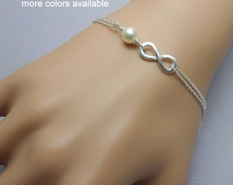 Sterling Silver Infinity Bracelet, Swarovski Ivory Pearl and Sterling Silver Infinity Bridesmaid Bracelet Bridesmaid Gift Maid of Honor Gift