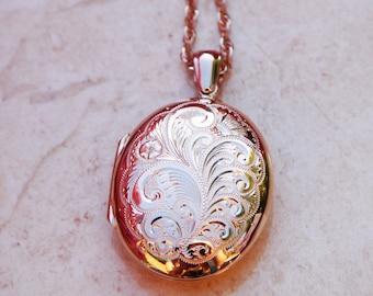 Large Hand engraved English Locket Solid 9ct Rose Gold
