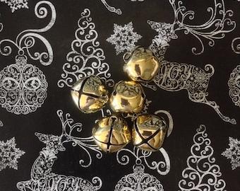 "Jumbo Jingle~Set of 3~Vintage~Gold~Metal~Jingle Bells~1"" Diameter~NOS"