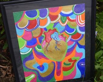 Heart Attack Original 9x12 Acrylic Painting