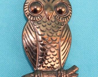 Vintage Copper Owl Brooch Pin