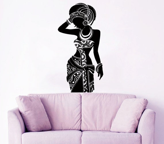 africa wall decal tribal african woman boho by amazingdecalsart. Black Bedroom Furniture Sets. Home Design Ideas