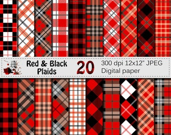 Black and Red Plaids Digital Paper Set, Buffalo Plaids Lumberjack Digital papers, Black Red Geometric Scrapbook papers, Instant Download
