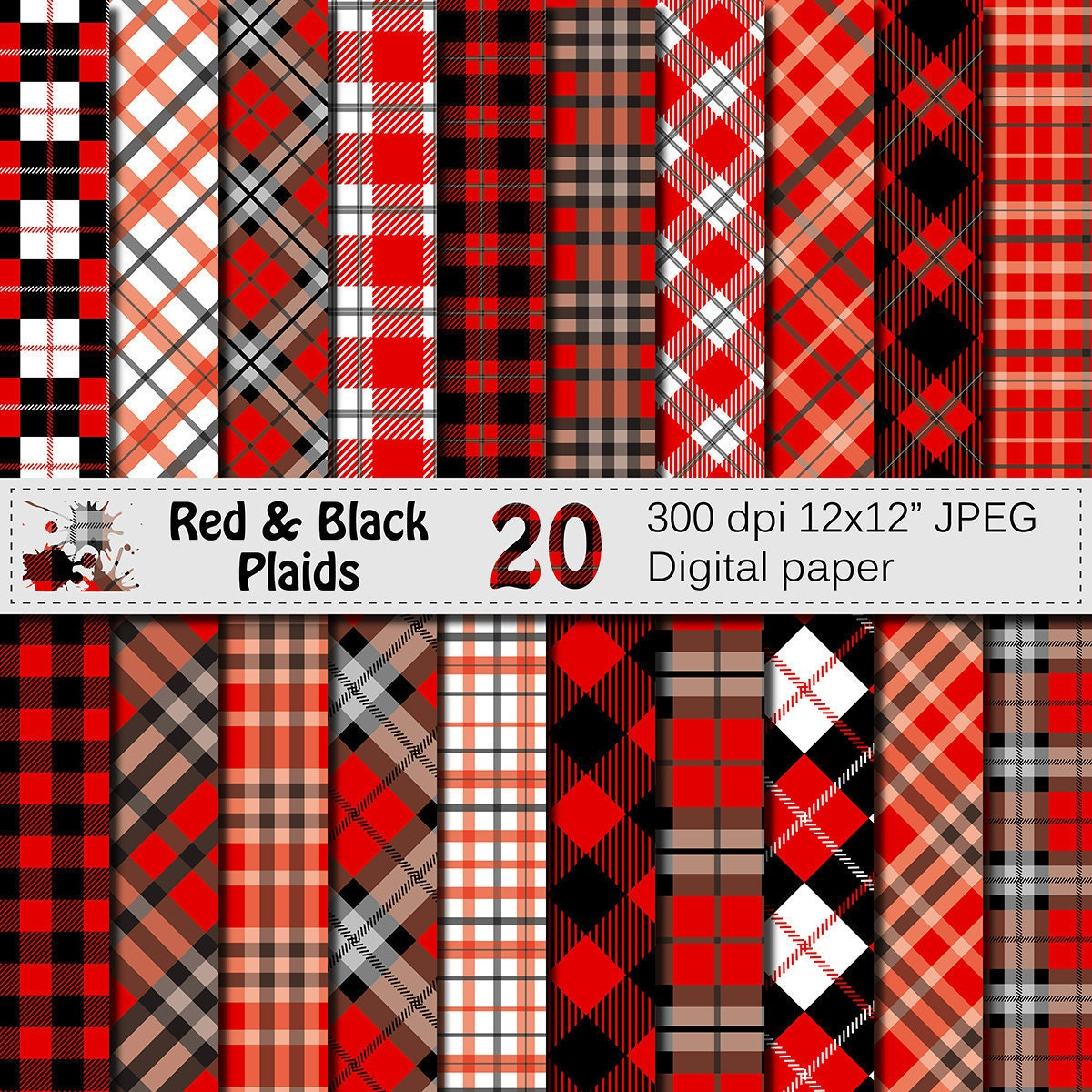 black and red plaids digital paper set buffalo plaids. Black Bedroom Furniture Sets. Home Design Ideas
