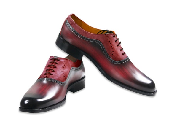 Leather men shoes, red wood effect and marsala suede, Oxford, hand painted, made in Italy