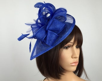 Royal Blue Fascinator Teardrop Feathers Sinamay Fascinator on Aliceband Hair band Hat Wedding Day Mother of the Bride Aintree Ladies Day Asc
