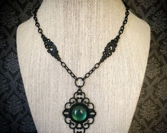 Black gothic necklace // filigree necklace // cameo necklace // emerald necklace // emerald green necklace // Victorian necklace