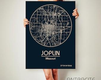 JOPLIN Missouri CANVAS Map Joplin Missouri Poster City Map Joplin Missouri Art Print Joplin Missouri