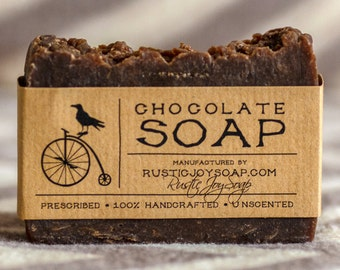 Chocolate Soap - Rustic Soap,All Natural Soap, Handmade Soap, natural chocolate , Homemade Soap, Unscented Soap.