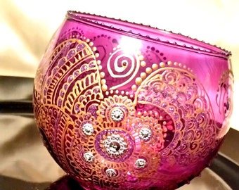 Arabian Purple Glass Candle Holder Hand Painted with Henna Design & Gem Stones