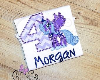 My Little Pony Birthday Shirt, Luna My little Pony, Personalized Birthday Shirt for Girls