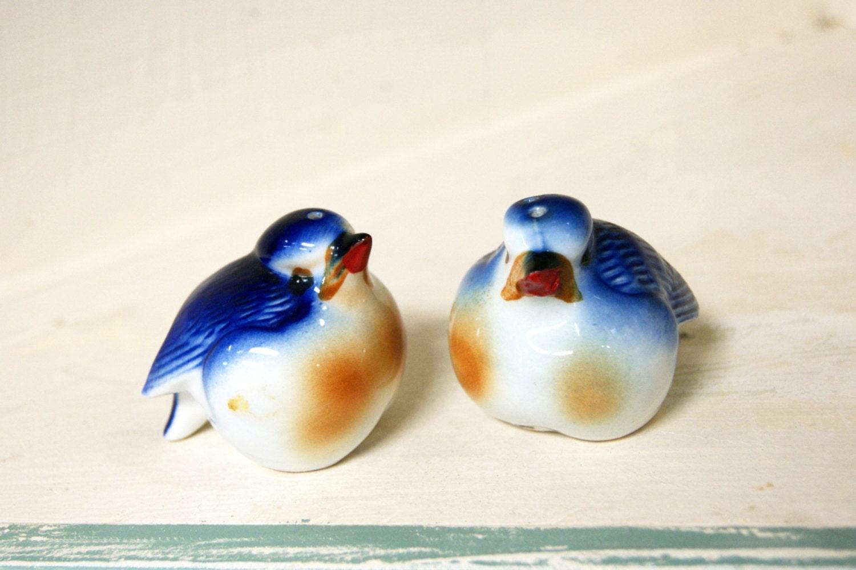 Ceramic Blue Bird Salt And Pepper Shakers