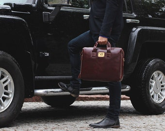 Leather Briefcase / Mens Leather Briefcase / Leather Briefcase Messenger / Laptop Briefcase