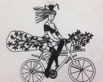 Bicycle Tee Shirt- Bike Tee Shirt- Bicycle Gift- Bike Gift- Sexy Girl Tee- Women Bicycle Gift- Pin Up Tee- Burlesque Tee- Size Small-  XXL