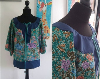Womens Tunic Top Vibrant Floral Batik Summer Present Gift For Her