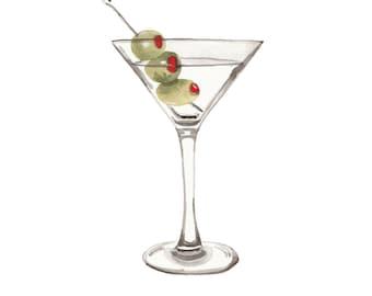 Food Illustration James Bond Martini Shaken Not Stirred Watercolour Illustration Print