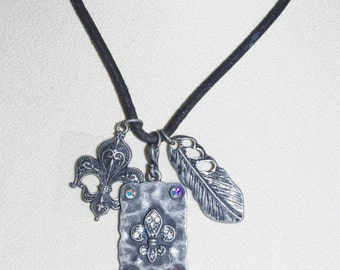Necklace FLEUR de LIS on Black Cord - S1457