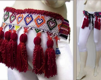 "90cm 34.5"" Tribal Belt, ATS Costume Belt, Red Tassels Belt, Tribal fusion Belt, Tribal Belly Dance Belt, Tribal Festival Belt, Red Boho Belt"