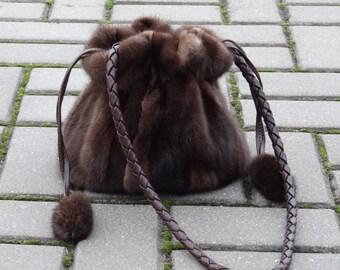 Handmade Mink fur handbag