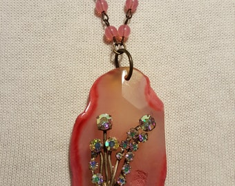 Pink Beaded Chain Necklace with Pink Stone & Antique Brooch