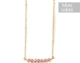 Rose necklace, gold filled necklace, pink necklace, Swarovski necklace, delicate necklace, crystals necklace, feminine necklace