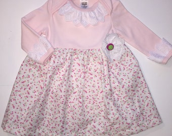 Baby girl pink onesie dress