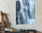 Waterfall Photo ~ North Carolina Wall Art ~ Nature Photography ~ Blue Print ~ Work Office Decor ~ State Park ~ Canvas Ready to Hang