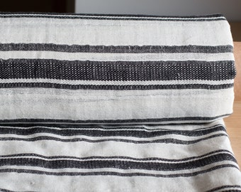 LINEN FABRIC STRIPED 220gsm Pure 100% linen fabric white and black striped  Organic linen fabric Softened Linen  Cloth