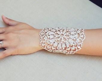 The Christine - Silver Wedding Bridal Bracelet Glitzy Filigree Cuff Hand Chain Glamorous Rhinestone White Bride Crystals Boho Wristlet Wrist