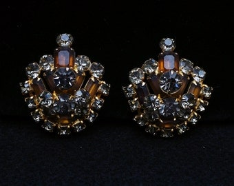 Vintage Large Topaz and Black Diamond Rhinestone Clip Earrings