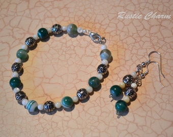 Green Sripped Agate Bracelet & Earring Set