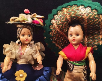 Vintage 1940's Mexican Celluloid Sleepy Eye Dolls