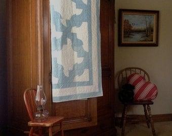 1930-40's Drunkard's Path Pieced Quilt; Blue and White