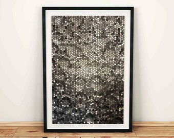 Black and white, Mosaic stones glass pattern, Digital Texture, Wall art decal, house decor, fancy art