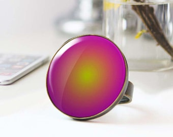 Mystic Ring, Large statement Ring, Purple and yellow photo ring, Hippie Cabochon ring,  ring, 5036-1