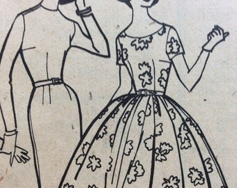 1950s wiggle dress & rockabilly full skirt dress McCalls 5294 vintage sewing pattern Bust 35 Waist 27 Hip 37 retro 50s Mid Century dresses