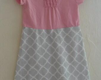 2T Toddler Girl T-shirt Dress Homemade Pink Gray Formal