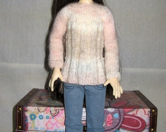 SALE Hand knitted fancy rib tunic for Kaye Wiggs MSD