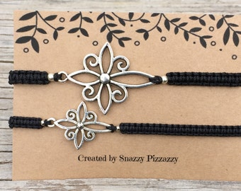 His and Hers Cross Bracelets , Adjustable Cord Macrame Friendship Bracelets