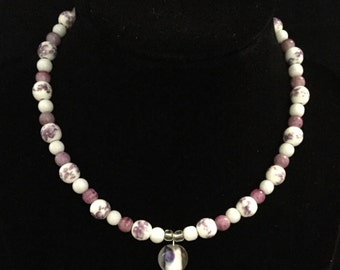 Violet and White Colored Necklace