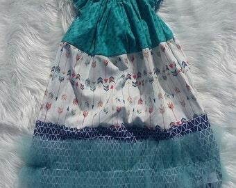 Arrow Basic Flutter Dress SIZE 7/8, arrow dress, baby girl dress,girls dress,flutter dress,handmade dress,baby dress,princess dress